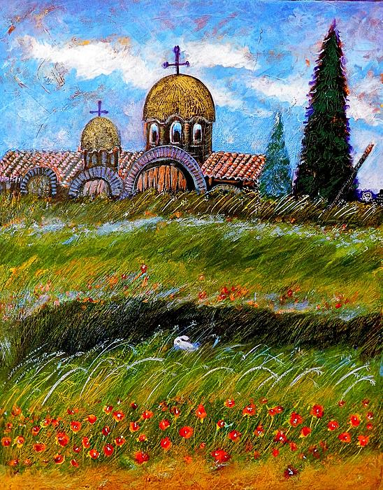 Monastery In Greece Painting  - Monastery In Greece Fine Art Print