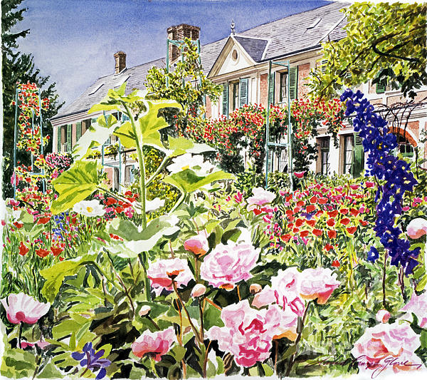 Watercolor Painting - Monets Garden Giverny by David Lloyd Glover