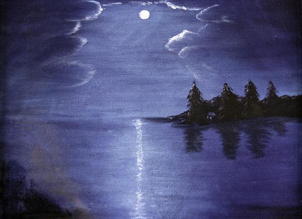 Silhouette Painting - Moonlit Lake by Judy Hall-Folde