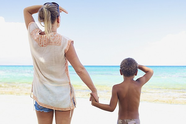 Beach Photograph - Mother And Son At Beach by Kicka Witte