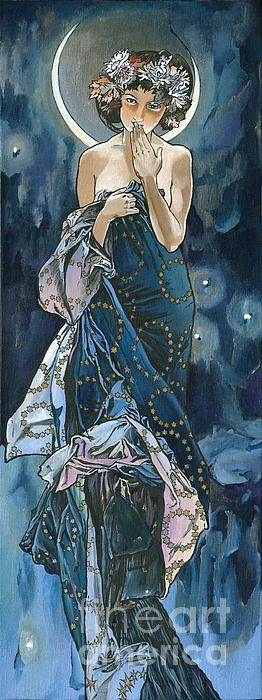 My Acrylic Painting As An Interpretation Of The Famous Artwork Of Alphonse Mucha - Moon - Painting  - My Acrylic Painting As An Interpretation Of The Famous Artwork Of Alphonse Mucha - Moon - Fine Art Print