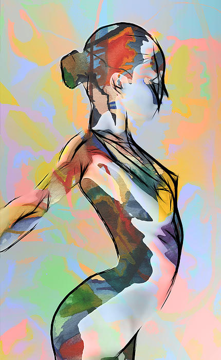 Girl Nude Ballerina Ballet Dance Female Body Naked Erotic Color Colorful Expressionism Painting  Painting - My Colorful Ballerina  by Steve K