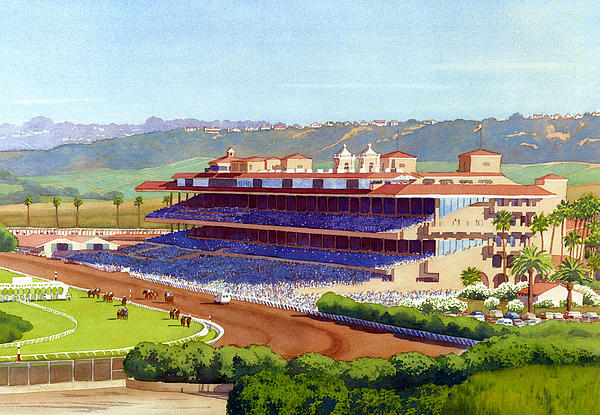 California Painting - New Del Mar Racetrack by Mary Helmreich