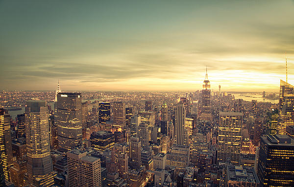 Nyc Photograph - New York City - Skyline At Sunset by Vivienne Gucwa