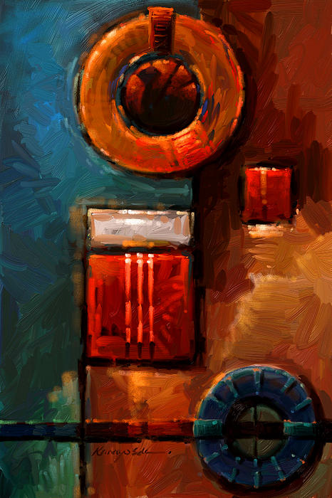 Red Paintings Painting - Night Engine - Abstract Red Gold And Blue Print by Kanayo Ede