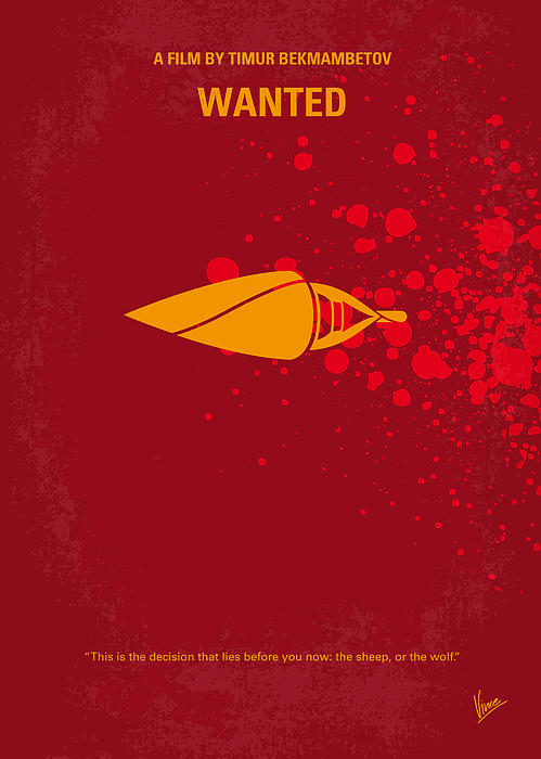 Wanted Digital Art - No176 My Wanted Minimal Movie Poster by Chungkong Art