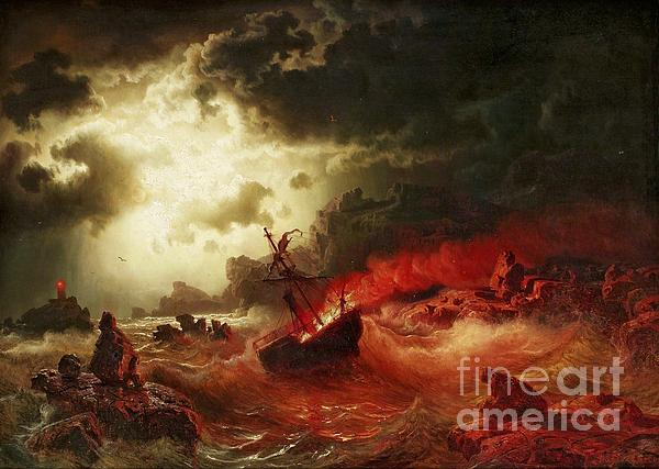Pd Painting - Nocturnal Marine With Burning Ship by Pg Reproductions