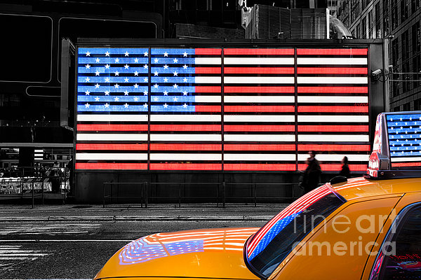 Yellow Cab New York Photograph - Nyc Cab Yellow Times Square by John Farnan