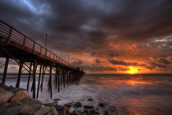 Oceanside Pier Perfect Sunset Photograph
