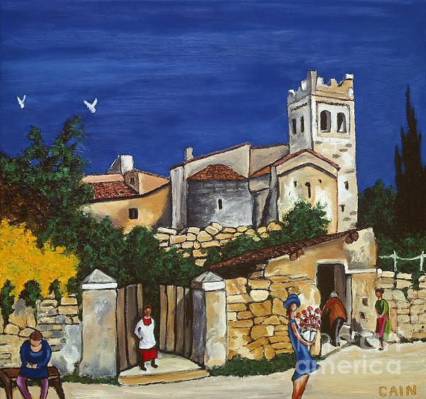 Mediterranean Art Painting - Old Church And Flower Girl by William Cain