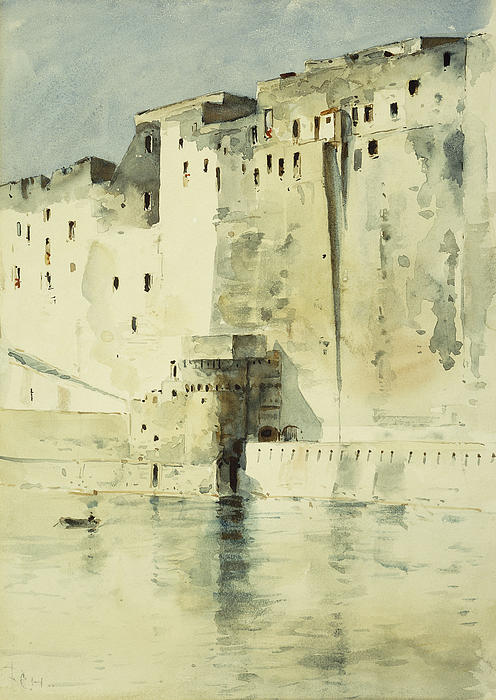American Impressionism; Boundary; Building Exterior; Calm; Castle; Citadel; Coast; Coastline; Day; Defensive; Enchanted; Enchanting; Europe;fairyland; Fairytale; Fanciful; Fantasy & Fiction; Fort; Fortification; Fortress; Italy; Light; Literature; Military Base; Naples; Nature; Natural Light; Outdoors Painting - Old Fortress Naples by Childe Hassam