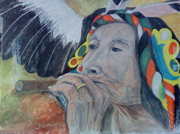 Portrait Of Smoking Old Woman. Painting - Old Indian Woman by Gani Banacia