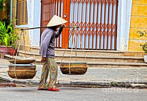 Old Photograph - Old Woman In Hoi An Vietnam by Fototrav Print
