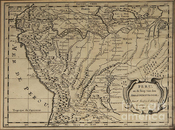 Vintage Photograph - Old World Map Of Peru by Inspired Nature Photography Fine Art Photography