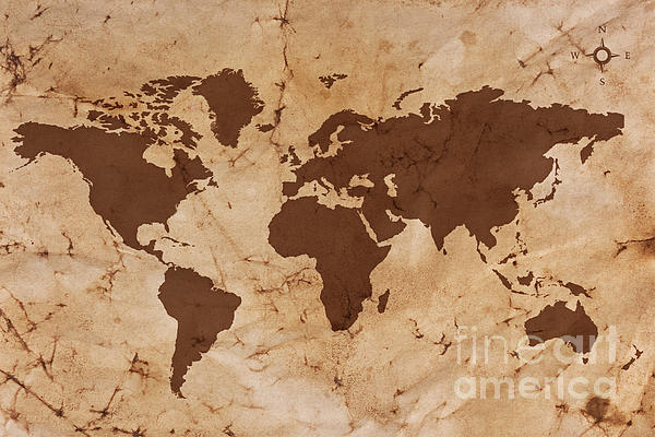 World Map Photograph - Old World Map On Creased And Stained Parchment Paper by Richard Thomas