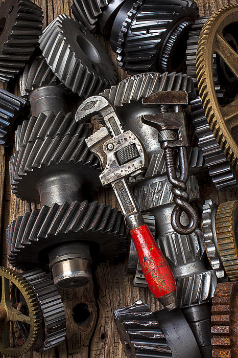 Two Wrenches Photograph - Old Wrenches On Gears by Garry Gay
