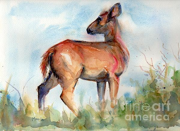 Deer Painting Painting - On Second Thought by Marias Watercolor