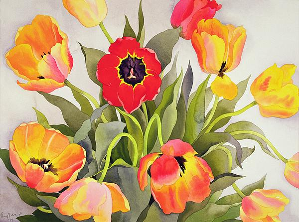 Flowers; Arrangement Painting - Orange And Red Tulips  by Christopher Ryland