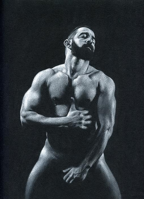 Male Drawing - Oscuro 11 by Chris  Lopez