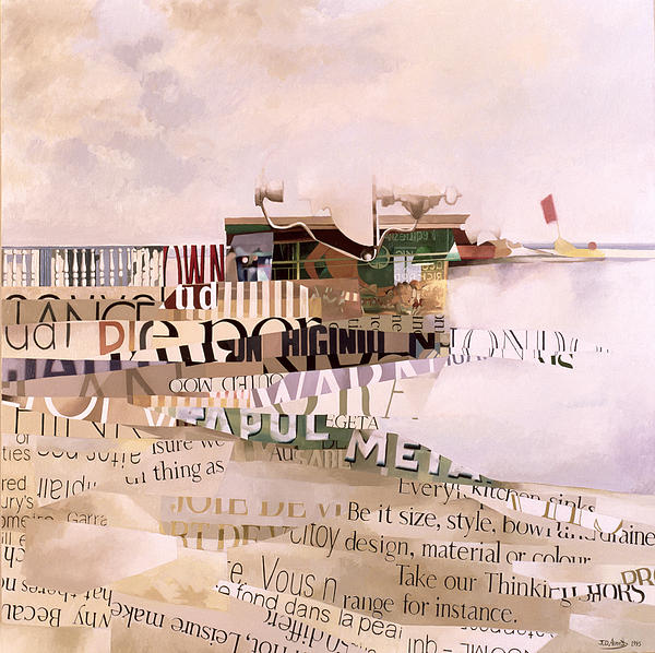 Abstract; Writing; Script; Type; Phrase; Bilingual; Surrealist;language; Lettre; Mot Painting - Out Of Season by Jeremy Annett