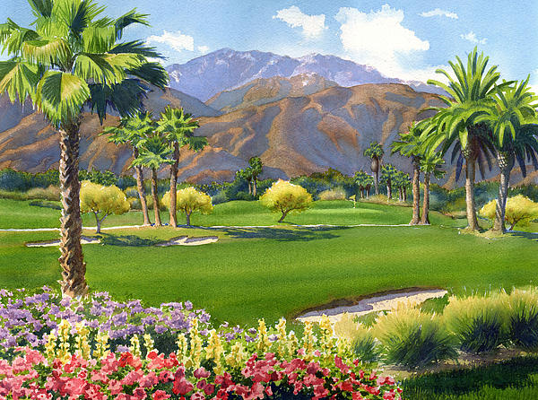Palm Springs Golf Course With Mt San Jacinto Painting