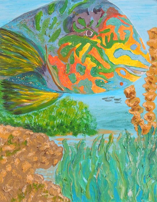 Parrotfish Painting - Parrotfish In The Coral by Connie Campbell Rosenthal