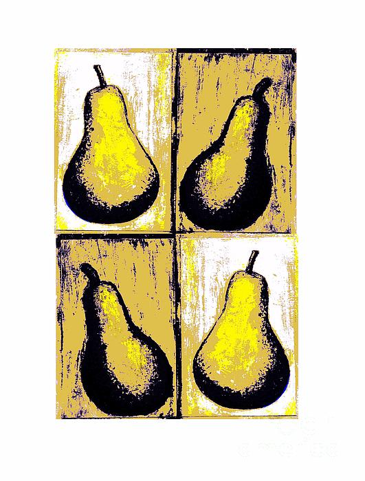 Pears Warhol Style Fruit Yellow Distressed Pointillism Pears Decorative Art Food Art Stylistic Shadows Stylized Painting Fruit Digitally Manipulated Painting Original Artwork Christine Fanous Fineartwithatwist Pears Quadratic Print Unique Food And Beverage Food Art Fruit Art  Painting - Pears- Warhol Style by C Fanous