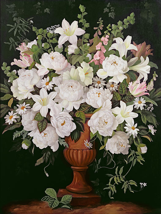 Flower; Bunch; Bouquet; Glycine; Lilies; Foxgloves; Marguerites Painting - Peonies And Wisteria by Lizzie Riches