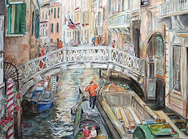 People In Venice Painting  - People In Venice Fine Art Print