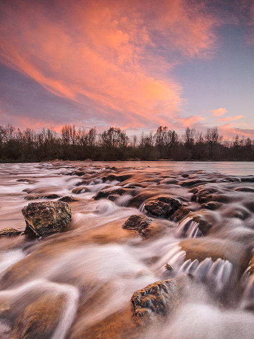 Landscapes Photograph - Pink Rapids by Davorin Mance