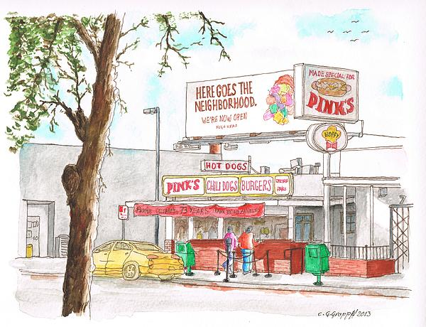 Nature Painting - Pinks Chili Dogs - Hollywood - California by Carlos G Groppa