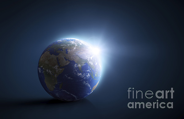 Planet Earth And Sunlight On A Dark Digital Art  - Planet Earth And Sunlight On A Dark Fine Art Print