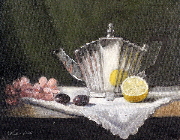 Pleated Teapot With Lemon Painting