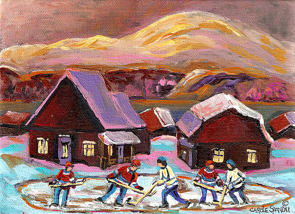 Pond Hockey Cozy Winter Scene Painting
