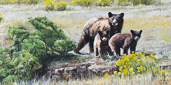 Prairie Black Bears Painting