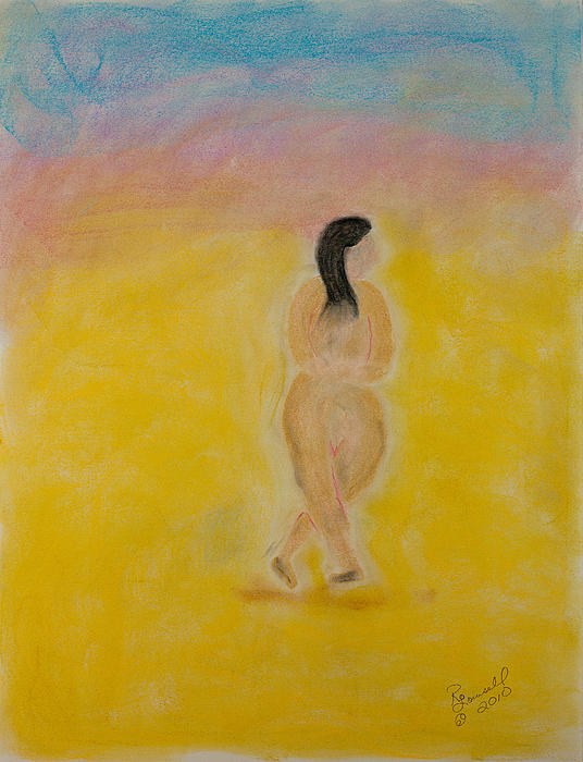 Primitive Woman Walking Print by Robyn Louisell