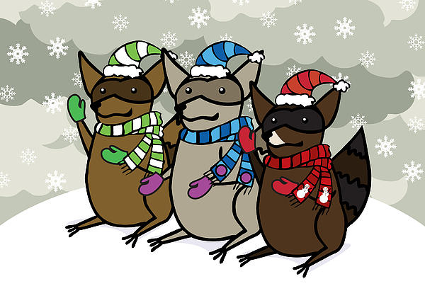Raccoons Digital Art - Raccoons Winter by Christy Beckwith
