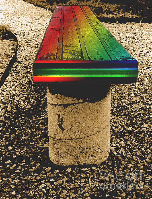 Autumn Photograph - Rainbow Park Bench by ImagesAsArt Photos And Graphics