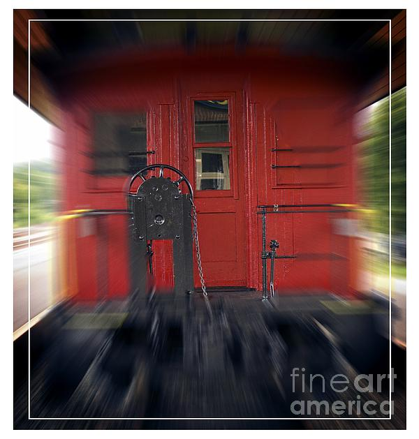 Motion Photograph - Red Caboose by Edward Fielding