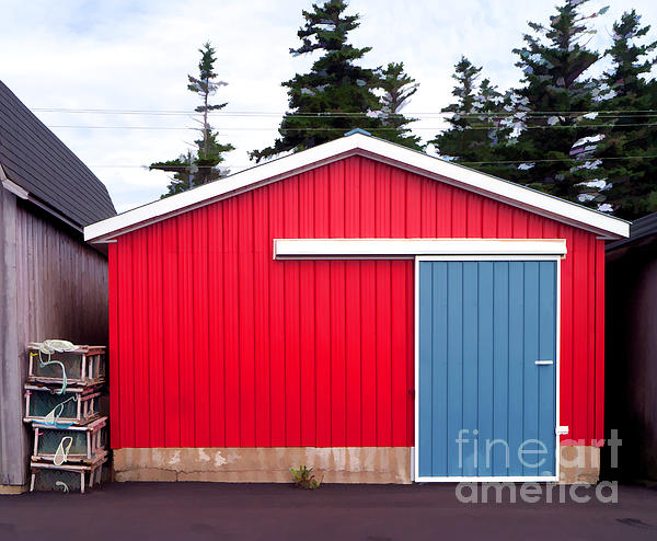 Red Photograph - Red Fishing Shack Pei by Edward Fielding