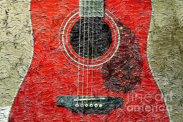 Red Guitar Center Photograph - Red Guitar Center - Digital Painting - Music by Barbara Griffin