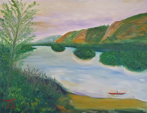 Red Kayak Missippi River Genoa Wisconsin Painting - Red Kayak by Troy Thomas