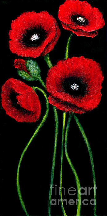 Christine Fanous - Red Poppies on Black