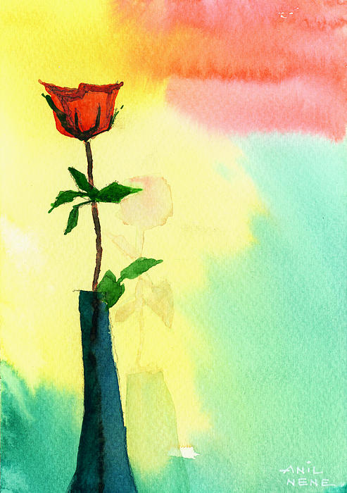 Valentine Painting - Red Rose 1 by Anil Nene