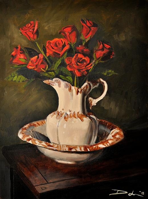 Red Roses In A Ceramic Pitcher Painting