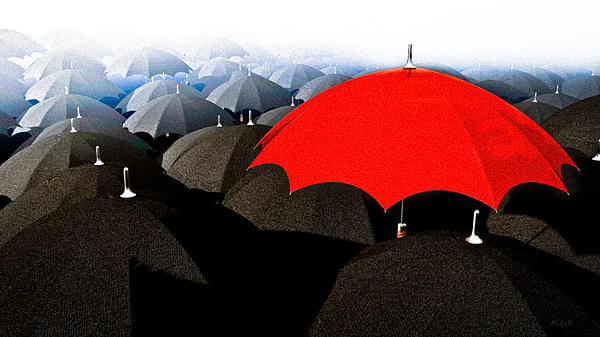 Red Umbrella In The City Mixed Media  - Red Umbrella In The City Fine Art Print