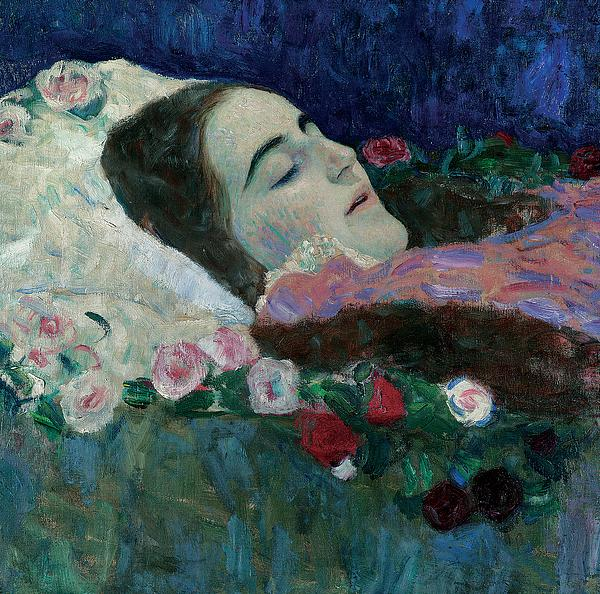Female; Dead; Death; Flowers; Peaceful; At Rest; Young Painting - Ria Munk On Her Deathbed by Gustav Klimt