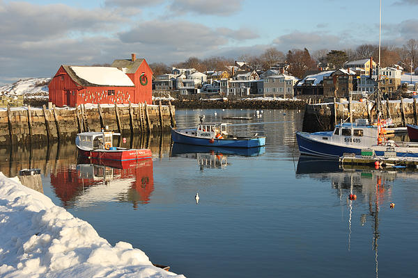 Rockport Harbor In Winter Photograph  - Rockport Harbor In Winter Fine Art Print