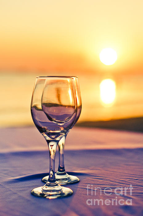 Wine Photograph - Romantic Sunset Drink With Wine Glass by Tuimages