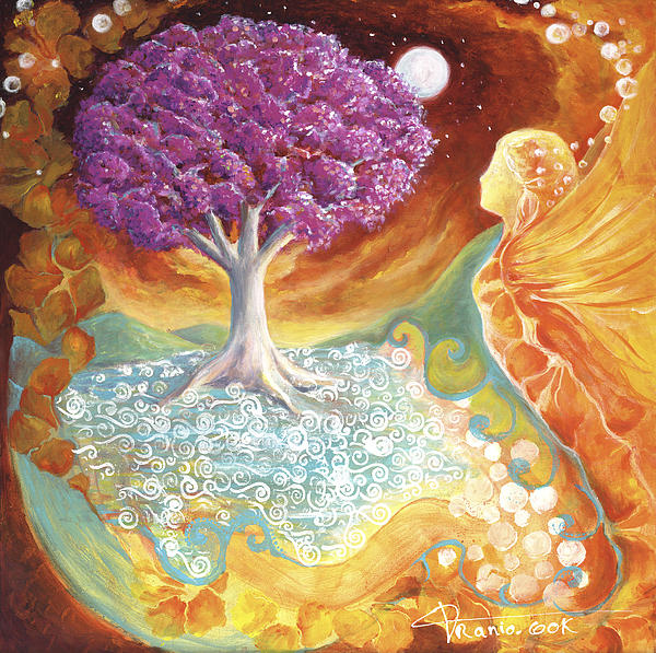 Earth Painting - Ruby Tree Spirit by Valerie Graniou-Cook